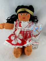 "Hawaiian Souvenir 12"" Doll Cloth Taro Patch Doll + Tall shot glass - $14.84"