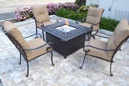 Conversation patio set Propane fire pit table outdoor  aluminum Santa Anita 5 pc image 2
