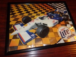 "Large MGD Miller Lite Beer Bar Mirror Car Racing Finish Line 25""x19"" Woo... - $47.52"