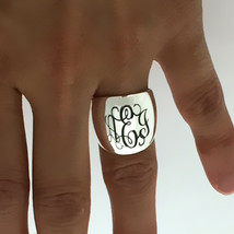 Sterling Silver Personalized Monogram Signet Dome Ring Cigar Band - $42.08+
