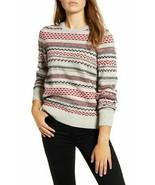 LUCKY Brand Stripe Fair Isle Wool Blend Sweater Grey Multi Size XS $89 -... - $19.79