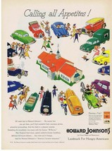 1950 HOWARD JOHNSON'S, colorful cars, Landmark for Hungry Americans Prin... - $9.99