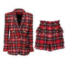 High Quality Red Plaid Slim Fit Blazer & High Waist Double Breasted Shorts Suit image 6