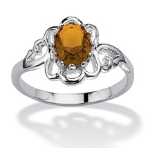 Oval-Cut Birthstone .925 Sterling Silver Ring-November-Simulated Citrine - $35.94