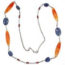 Collar Plata 925 , Ágata Naranja, Cianita Azul, Ámbar, Largo 80cm, Caden... - $175.67