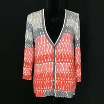 Anthropologie M Cardigan Sweater FIELD FLOWER Cream Gray Coral Scribble ... - $19.95