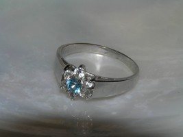 Estate Tapered Smooth Silvertone Band with Clear & Light Blue Rhinestone... - $9.49