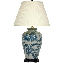 """Oriental Furniture 29"""" Blue and White Chinese Landscape Lamp - $212.58"""