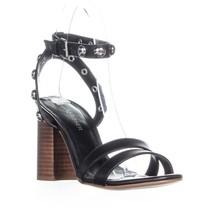 Marc Fisher Lantern Studded Ankle Strap Sandals, Black Leather - $28.99