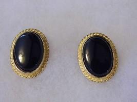 Vintage Clip On Earrings Black Stone Gold Tone Elegant Costume Fashion J... - $10.66