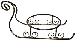 Wrought Iron Regal CHRISTMAS SLEIGH Bowl Stand Xmas Centerpiece Table To... - $53.99