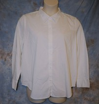 Womens White George Long Sleeve Shirt Size XXL 20 excellent - $6.92