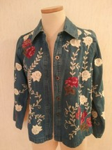 Denim and Company Co Ms Sz S Small Embellished Button Down Jean Jacket  - $16.77