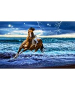Running Horse in Surf Beach Home Decor Canvas Print, choose your size. - $6.10+
