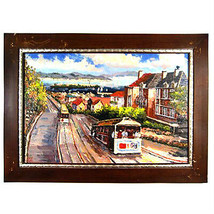 """San Francisco Trolley Cars/Bay Area View Framed Print on Canvas 24""""x36"""" - $496.68"""