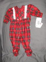 Laura Dare Baby Girl Winter Xmas Plaid Ruffle Footie Pajamas 0-3 NWT - $19.79