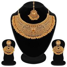 Bollywood Indian Fashion Golden Kundan Pearl Chokar Necklace Earring Jew... - $16.82