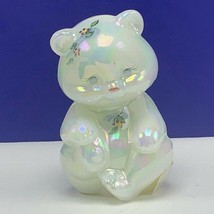 Fenton glass teddy bear figurine sculpture milk white signed opalescent ... - $91.76