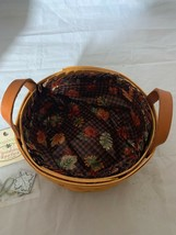 Longaberger Button Classic Basket Combo Gingham Liner Fall Tie on Leathe... - $37.39