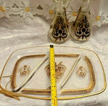 RARE 1950's Georges Briard Sonata Dove Rectangle Glass Tray & Cruets V&O image 6