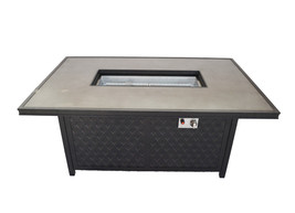 Fire pit propane coffee table height rectangular outdoor cast aluminum patio image 1