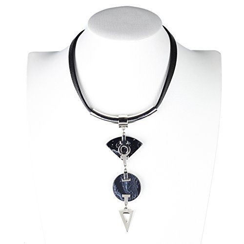 UE- Silver Tone & Black Designer Statement Choker Necklace With Stone Pendants - $24.99