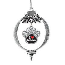 Inspired Silver I Love Bulldogs Pave Paw Print Charm Holiday Christmas Tree Orna - $14.69