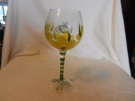 Hand Painted Wine Glass from Home Essentials Yellow Flowers with Butterfly - $24.74