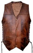 Mens Biker Moto Rider Vintage Distressed Brown Leather Vest Motorcycle T... - $99.99