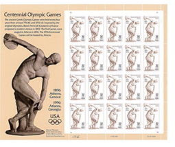 Olympic Games Atlanta 1996 Sheet of Twenty 32 Cent Postage Stamp USPS Ce... - $9.60