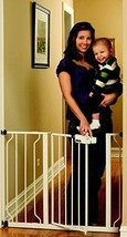 Gate White Extra Tall Baby Child Pet Dog Safety Auto Lock Security Barri... - $58.96