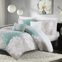 6pc Aqua Grey Reversible Cotton Duvet Cover Bedding Set AND Decorative P... - $2.373,18 MXN+