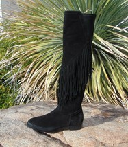 VC Signature Vince Camuto Tall Fringed Black Suede Boots 37.5, 7 M New - £46.43 GBP