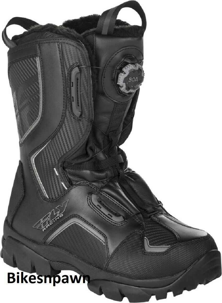 New Mens FLY Racing Marker Boa Black Size 10 Snowmobile Winter Snow Boots -40 F