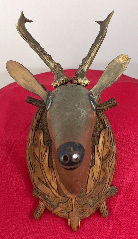 Antique 1900 Black Forest Hand Carved Wood German hunting deco design bauhaus