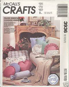 New 1980s Pillow Essentials Heart Round Square McCalls 3936 Sewing Pattern McCall's