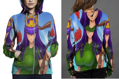 Archer queen hoodie zipper fullprint women