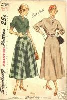 40s Dress Kimono Sleeve Simplicity 2764 Bust 29 Vintage Sewing Pattern Simplicity