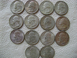 14 NICER WASHINGTON SILVER QUARTERS 1934-35-36-38-39-40-41-42-43-44-45-4... - $104.99