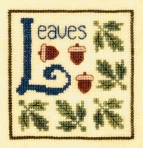 L is for Leaves SC23 mini cross stitch chart Elizabeth's Designs  - $4.00