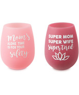Mom Life Silicone Wine Glasses New Set of 2 Super Tired Alone Time For S... - $23.27