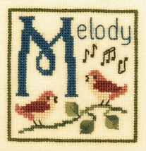 M is for Melody SC24 mini cross stitch chart Elizabeth's Designs  - $4.00