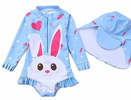 Toddler Baby Girl Swimsuit One Piece Cute Rabbit Swimwear Little Kid Lon... - $17.65