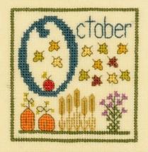 O is for October SC26 mini cross stitch chart Elizabeth's Designs  - $4.00