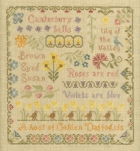 Antique Flower Sampler cross stitch chart Elizabeth's Designs  - $8.10