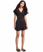 Benares Black Wrap Dress - Viscose, Silhouette Short Sleeve Party Wear (Large)