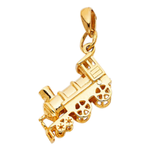 14k Yellow Gold Cute Train Railway Locomotive Trolley Designer Charm Pen... - $130.89