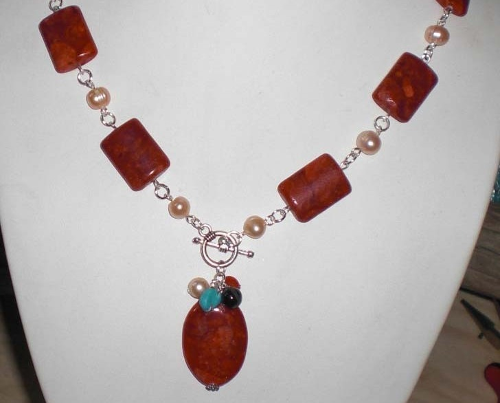 Gorgeous Genuine Natural Red Spongy Coral and FW Pearls Neck