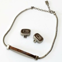 Vintage Givenchy Jewelry Clip On Earrings and Necklace Set Brown & Silver Colors - $63.10