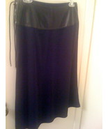 MICHAEL KORS black leather band skirt with tie accents size 4 NEW RARE - $49.99